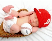 Philadelphia Phillies Inspired Crocheted Baseball Cap (Newborn - Children Size) (Made to Order)