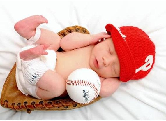 Philadelphia Phillies Inspired Crocheted Baseball Cap (Newborn - Children Size) (Made to Order)
