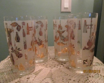 Mid Century Drinking Glasses 4 / Gold Frosted Glasses 60s