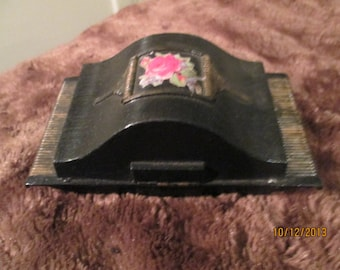 Art Deco Watch Box / 40s jewelry Box / Black Box With Rose Decal Rare