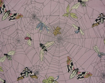 The Ghastlies, A Ghastlie Web, Spider Web Fabric, Alexander Henry, Insects in Webs,  Ghastlie Web, Mauve Background, By the Yard