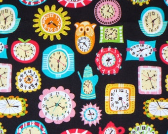 Clocks Fabric / Retro Clocks / 1950's Clocks  / OOP / By the Yard