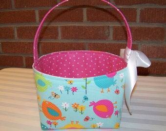 Fabric Easter Basket – Cute Birds in Pink Yellow and Orange on Turquoise - Personalization Included - Great Storage Bin
