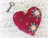 SALE Key To My Heart Ornament Bowl Filler Vintage Skeleton Key Burgundy Maroon Marsala Green Peach Apricot Flowers Doilies Cross Pin Cushion