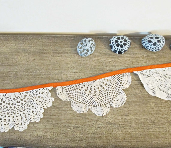 SALE Bunting Hilda Vintage Doilies Bridal Upcycled Wall Hangings. Thanksgiving Pumpkin Orange Cream Ecru Crochet Repurposed Eco Friendly