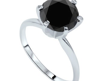 Black Diamond Engagement Ring, 3.00CT Black Diamond Solitaire Engagement Ring 14K White Gold
