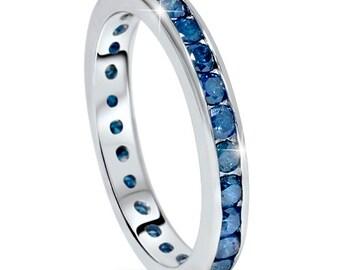 1.50CT Blue Diamond Eternity Ring Channel Set 14 Karat White Gold Size (4-9)