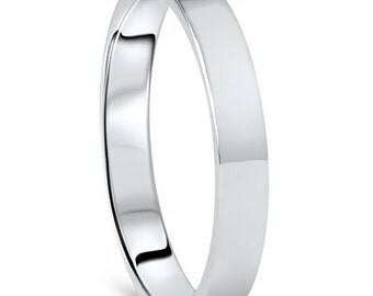 950 Platinum Wedding Band Womens 3MM Flat High Polished Plain Anniversary Ring Size (4-10)