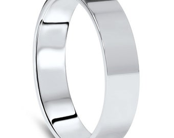 Men's 10k White Gold 5mm Flat Plain Wedding Band High Polish