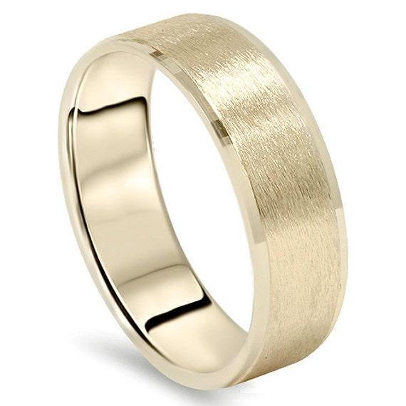 Mens Yellow Gold Wedding Band 14 Karat Ring 6MM Flat Brushed