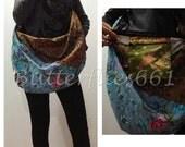 Blue Plum Brown Floral Patchwork Hippie Gypsy Boho Thai Handmade Batik Cotton Bag