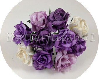 10 Handmade Mulberry Paper Flowers Mixed Sizes of Purple Curly Roses