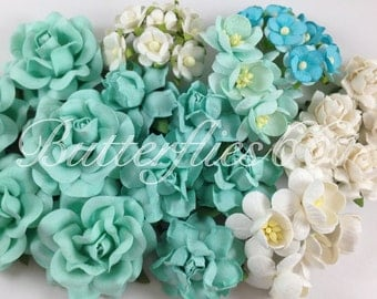 45 Handmade Mulberry Paper Flowers Mixed Sizes of Aqua Blue Wedding Roses