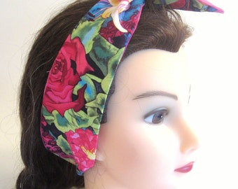 2 In1 Reversible Headband Multi Colored and Pink Polka Dots Pin up / Pin up scarf/ Tie back headband