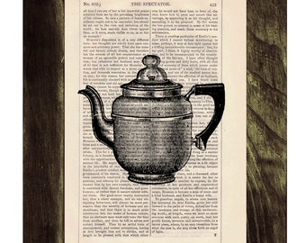 Vintage gorgeous Coffee pot printed on dictionary book page- Upcycled art TVH111