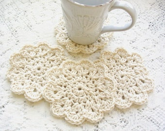 Crochet Doily Coasters - Drink Coasters - Crochet Round Coaster Set - Handmade Coasters - Country French Shabby Cottage Chic Decor