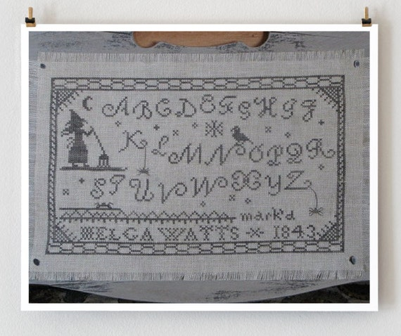 counted cross stitch pattern : Helga Watts Primitive Bettys Halloween witch embroidery