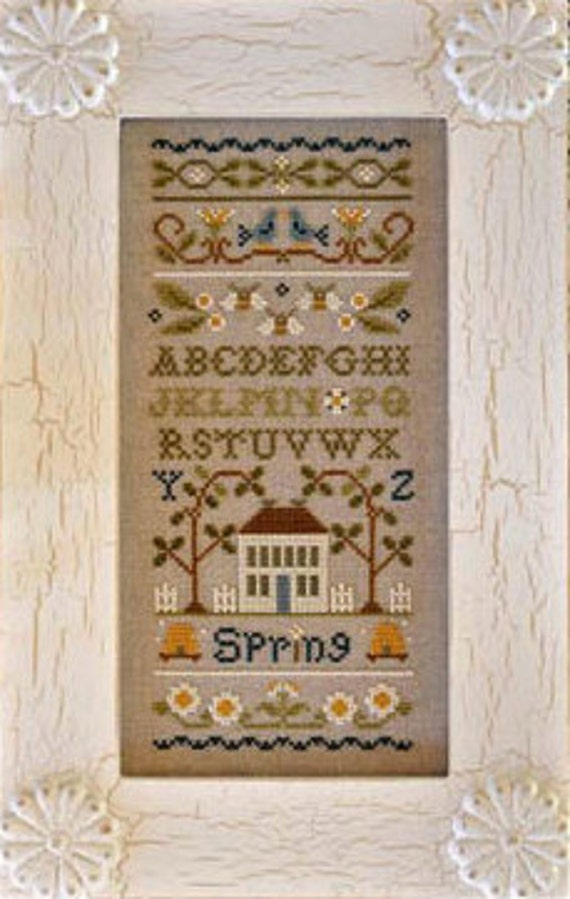 50% OFF Spring Band Sampler : counted cross stitch pattern & charms Little House Needleworks embroidery