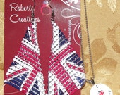 "Union Jack Flag Mesh Earrings and ""I Love British Boys"" Enamel Charm Necklace"