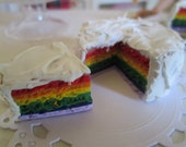 1:6 scale Miniature doll food Rainbow layered cake w/ slice Momoko Barbie Fashion Royalty