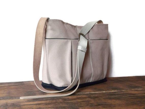 canvas diaper bag leather adjustable strap pale pink baby by skbag. Black Bedroom Furniture Sets. Home Design Ideas