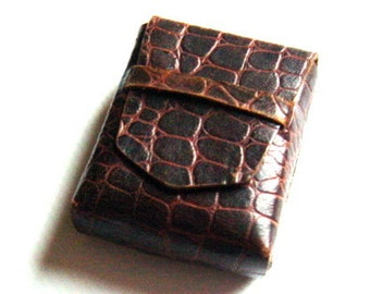 Vintage French 1930s Mock Croc Leather Card Case Cigarette Case Tobacciana