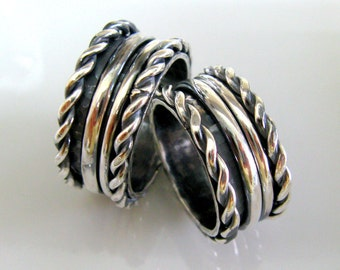 Mens Wedding Braided Rings. Sterling Silver Handmade Swinging Ring Set. Ethnic Style Wedding Bands. His His. Hers Hers. His Hers
