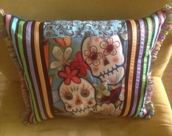 Day of Dead Pillow, Mexican, Skulls,Dia de los Muertos Pillow