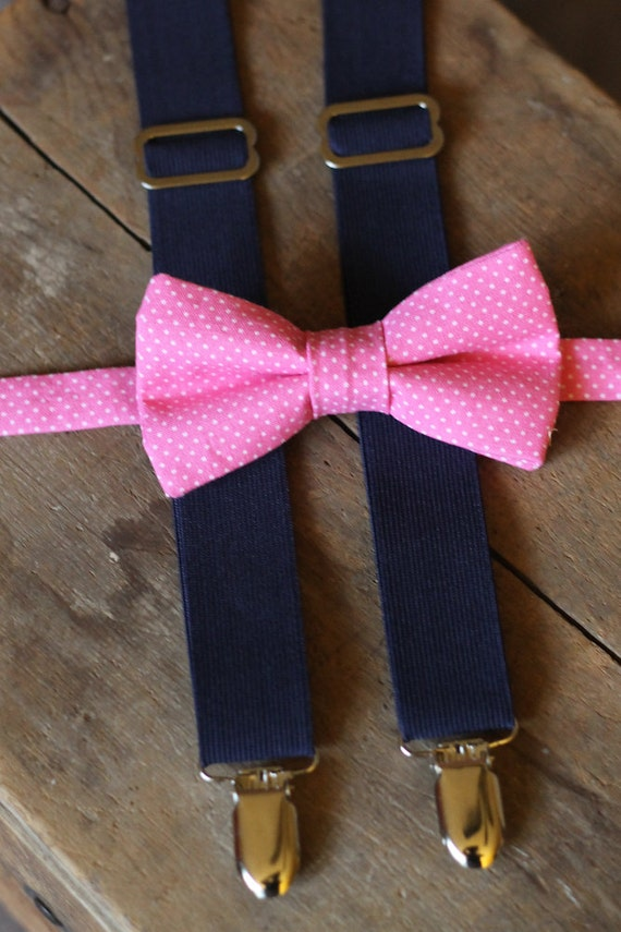 "Baby Boy Bow Tie Suspender Set - Pink Polka Dot Bow Tie - Navy Blue Suspenders - Baby Photograhpy Prop  - TaLula Knits ""Gents"" Collection"