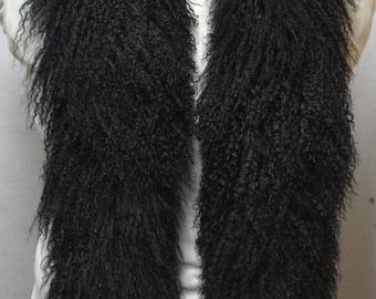 Black Mongolian Lamb Tibetan  Fur Boa tibet scarf new made in usa real genuine authentic
