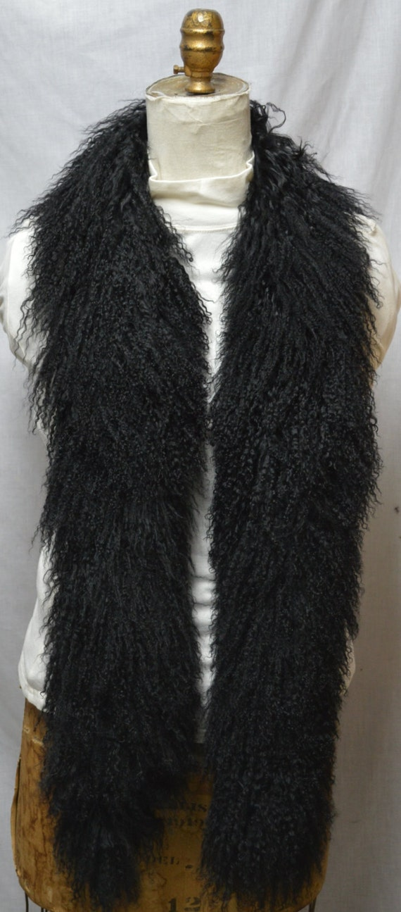 Black Mongolian Lamb Tibetan Fur Boa Tibet Scarf New Made In