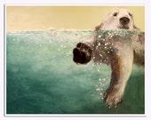 Polar Bear / Swimming abstract realism bear , 11 x 14 , aqua and cream Laura Sue