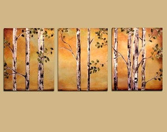 Abstract Realism Aspens, Very Large tree Painting, Custom Wall Art