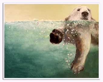 Polar Bear / Swimming abstract realism bear , 11 x 14 , aqua and cream Laura Sue