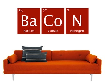 BACON vinyl wall decal- periodic table of elements- interior design, sticker art, room, home and business decor