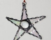 Stained Glass Suncatcher- Mini Crazy Star - Freestyle Star with Jewel Center - Ornament