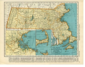 MICHIGAN and MASSACHUSETTS  MAP 1935 - Vintage Double-Sided Collier's Atlas Book Page