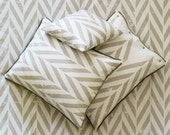 Twin size sheet set by Lovely Home Idea. Grey Zigzag Chevron printed linen with corduroy piping