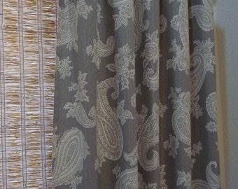 Custom Curtain Panels P Kaufmann Chelsea Silver Grey Paisley Print 50x63 - 50x108