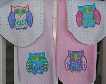 Personalized Baby Swaddle Blanket, Owl Applique, your choice
