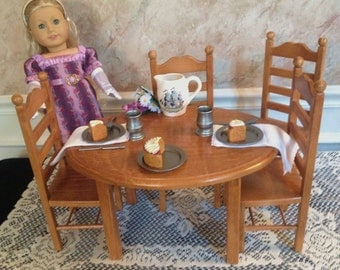 American Girl Doll: Furniture, oval doll table 4 chair set dark oak stain