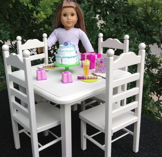 American Girl Doll Furniture Doll Square Table 4 Chair Set