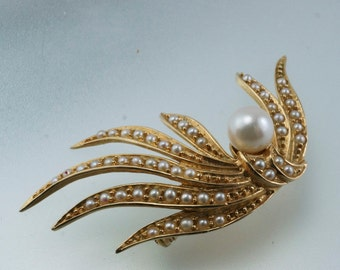 14k GOLD PEARL BROOCH.  abstract leaf seed pearl. vintage jewelry. 14kt. estate. No.001817 cs