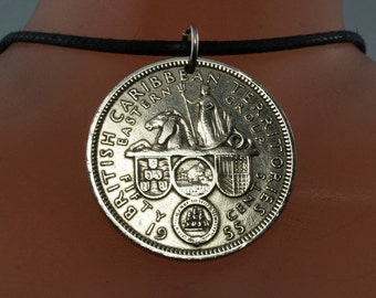 vintage BRITISH CARIBBEAN TERRITORIES coin necklace - 1955 jewelry pendant - partsforyou Cecile Stewart  No.001964