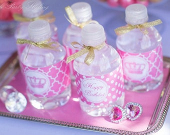 Instant Download DIY  Pink Princess Birthday Party  PRINTABLE Water Bottle Labels crown