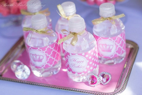 Instant Download DIY Pink Princess Birthday Party PRINTABLE Water ...