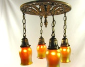 Chandelier Vintage Deco Light Hanging Antique Fixture Cast Iron With 4 Aurene Glass Shades 1920s