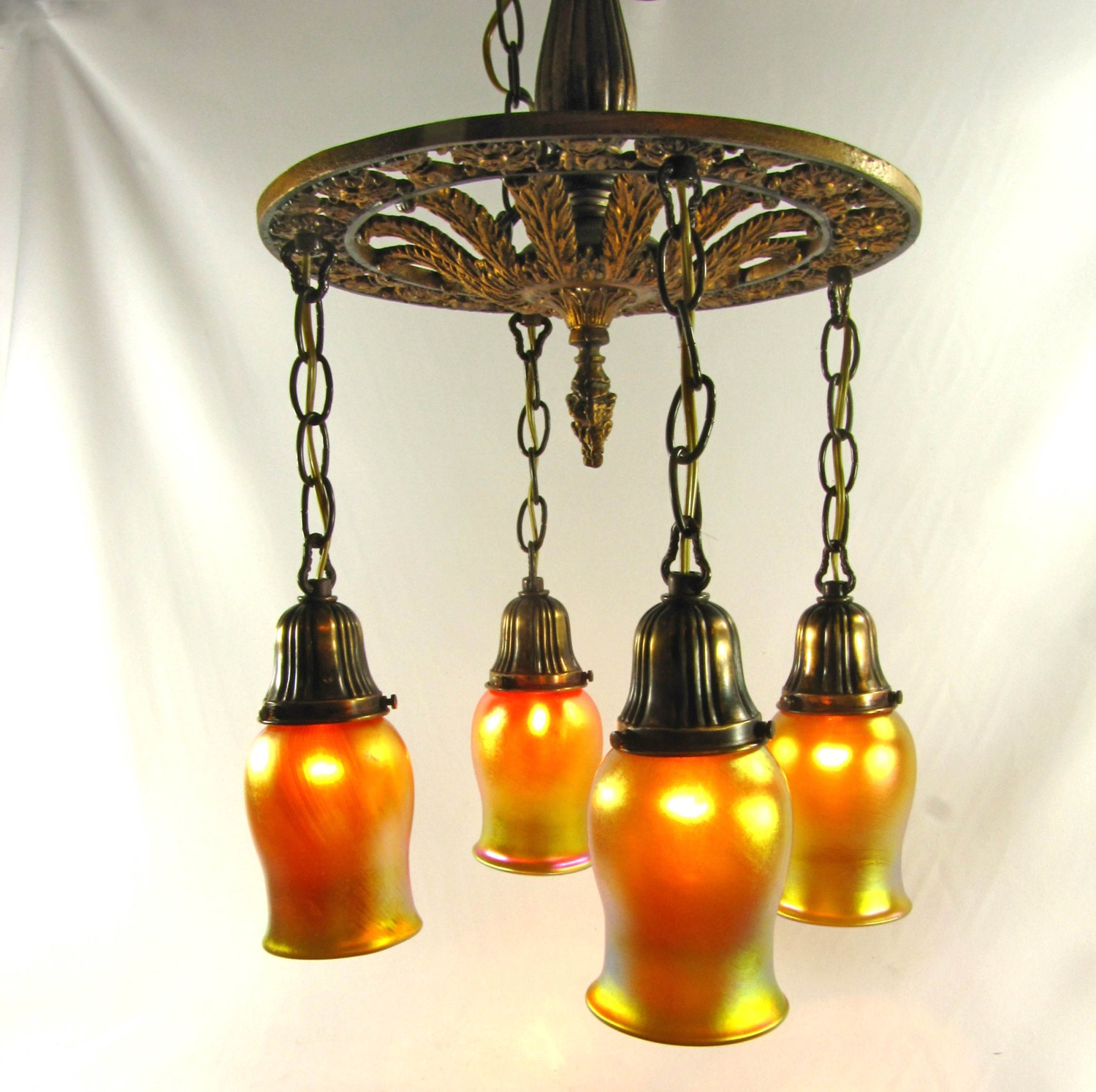 Chandelier Vintage Deco Light Hanging Antique Fixture Cast