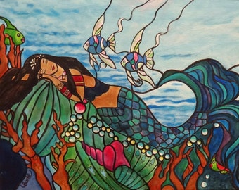 Mermaid Dream 16 x 20  Acrylic Painting on Canvas by Lesli Pringle Burke