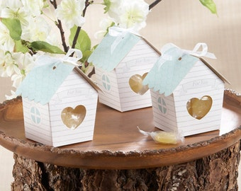 Love Birds Favor Box, Wedding Favor Box, Baby Shower Favor Box with Ribbons and Gift Tags, Set of 10